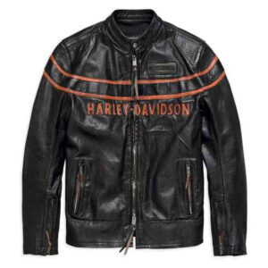 Harley Davidson heren dubbel ton slim fit leren jack