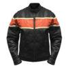 Orange Stripe Motorcycle Leather Jacket for Mens