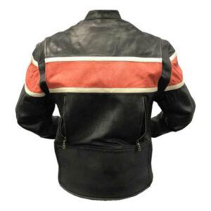 Blouson moto en cuir à rayures orange