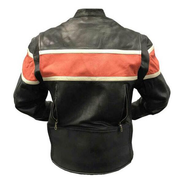 Orange Stripe Motorcycle Leather Jacket